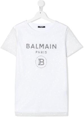 Balmain Kids TEEN sequin embroidered logo T-shirt