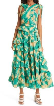 Ulla Johnson Zahra Tie Shoulder Cutout Ruffle Maxi Dress