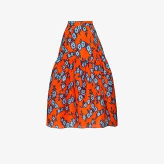 Carolina Herrera floral tiered silk skirt