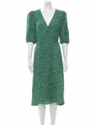 Reformation Printed Midi Length Dress w/ Tags Green