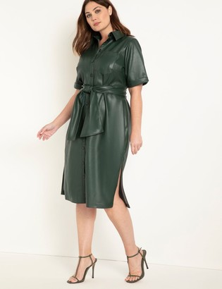 ELOQUII Faux Leather Trench Dress