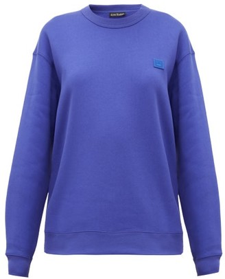 Acne Studios Fairview Face Cotton Sweatshirt - Womens - Blue