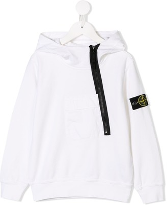 Stone Island Junior Off-Centre Zipped Hoodie
