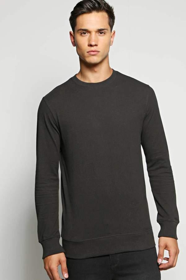 boohoo Cotton Pique Sweatshirt black