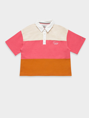 Tommy Hilfiger TJM Colour Block Logo Polo T-Shirt in Rustic Orange