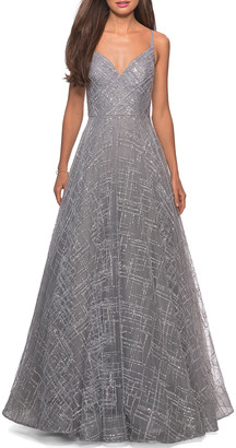 La Femme Patterned Sequin Sweetheart Sleeveless Ball Gown