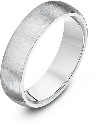 Theia Palladium 950 Super Heavy Weight Court Shape 5 mm Matted Wedding Ring - Size V