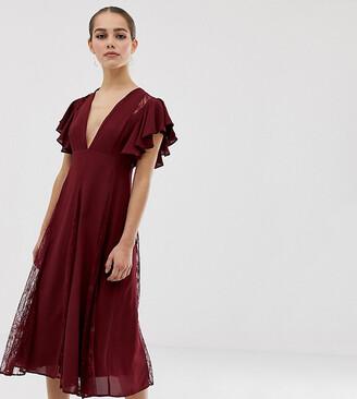 Asos DESIGN Petite midi dress with lace godet panels-Red