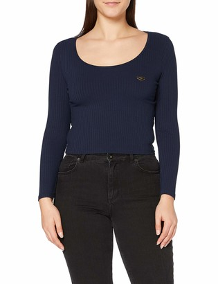 Gianni Kavanagh Women's Navy Blue Core Long Sleeve Ribbed Tee Undershirt S
