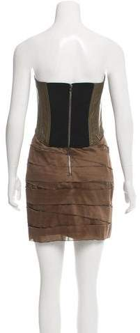 Jay Ahr Leather-Paneled Tiered Dress