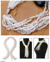 Crystal and citrine beaded necklace, 'Sparkling Crystal Scarf'