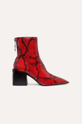 Alexander Wang Parker Snake-effect Leather Ankle Boots - Red