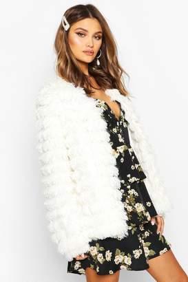 boohoo Panelled Shaggy Faux Fur Jacket