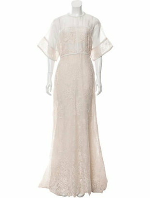 Elie Saab Lace Silk Gown w/ Tags Beige