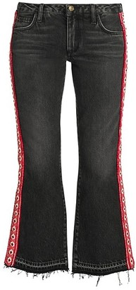 Alanui Mid-Rise Crop Embroidered Flare Jeans
