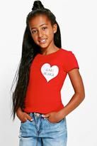 Boohoo Girls Glitter Heart Breaker Tee red