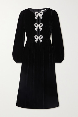 Saloni Camille Embellished Velvet Midi Dress - Black