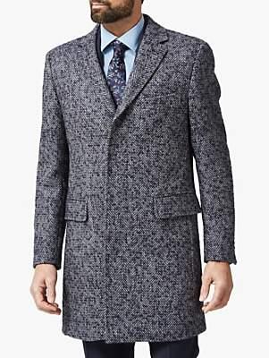 Richard James Mayfair Herringbone Overcoat, Blue
