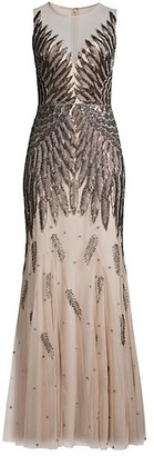 Aidan Mattox Beaded Sleeveless Mermaid Gown