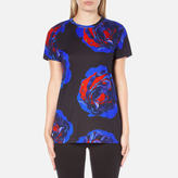 DKNY Women's Short Sleeve Comic Rose Print TShirt - Black