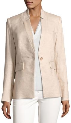 Veronica Beard Linen-Blend Up-Collar Jacket, Beige