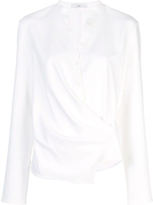 Tibi Chalky draped wrap blouse