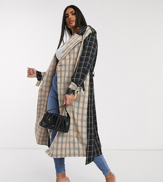 Unique21 Hero mix and match trench coat in checks