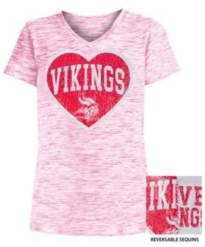 5th & Ocean Big Girls Minnesota Vikings Heart Flip Sequin T-Shirt