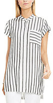 Vince Camuto TWO Extended Roll Sleeve Gentile Stripe Tunic