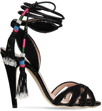 Etro 110mm Embellished Suede Lace-up Sandals
