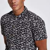 River Island Mens Jack and Jones Premium Black palm print shirt