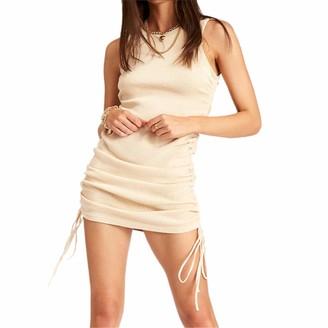 Huazhu Mini Dress for Women Sexy Club Ruched Sleeveless Drawstring Mini Bodycon Dress (Coffee M)