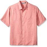 Cubavera Men's Big and Tall Floral Jacquard Woven Shirt