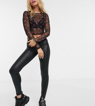 Noisy May Petite leather look leggings in black