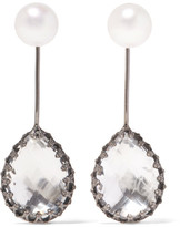 Larkspur & Hawk - Antoinette Rhodium-dipped, Quartz And Pearl Earrings - Silver