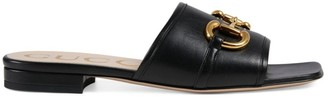Gucci Leather Slide Sandals with Horsebit