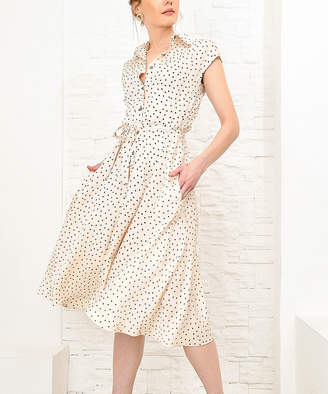 BEIGE Angele Mode Women's Casual Dresses  & Black Polka Dot Cap-Sleeve Shirt Dress - Women