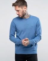 Armani Jeans Jumper With Crew Neck & Logo In Blue