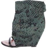 Isabel Marant Snakeskin Print Canvas Wedge Sandals