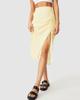 Cotton On Women's Yellow Midi Skirts - Leah Ruched Side Midi Skirt - Size M at The Iconic