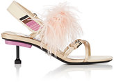 Prada Women's Feather-Embellished Satin Slingback Sandals