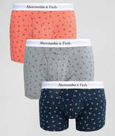 Abercrombie & Fitch 3 Pack Trunks In Coral/navy/grey Anchors