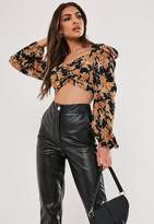 Missguided Black Floral Sweetheart Milkmaid Crop Top