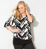 Avenue Geo Cold Shoulder Blouson Top