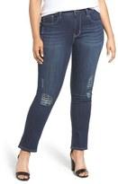Melissa McCarthy Lace Patch Destructed Skinny Jeans (Natalie) (Plus Size)