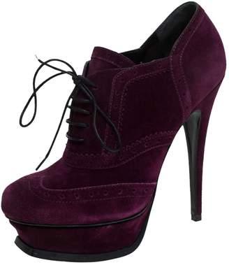 Saint Laurent Purple Leather Ankle boots