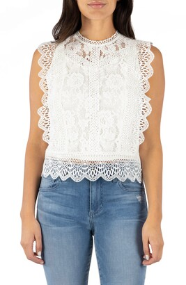 KUT from the Kloth Stella Sleeveless Cotton Blend Lace Top