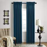 "Veratex Gotham Collection Contemporary Style 100% Linen Bedroom Rod Pocket Fastener Style Curtain, 120"" Long, Dark Teal"