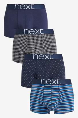 Next Mens Signature Navy Pattern Bamboo Hipsters Four Pack - Blue