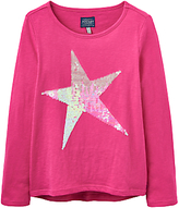 Joules Little Joule Girls' Sequin Star T-Shirt, Fuschia Pink